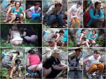 Russian Girls Pee in the Woods 2