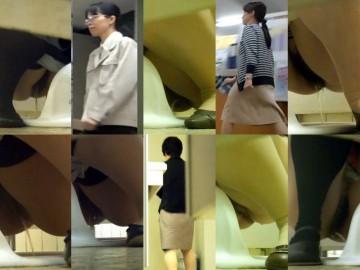 若いOL4名と熟女OL9名 和式トイレ前撮り